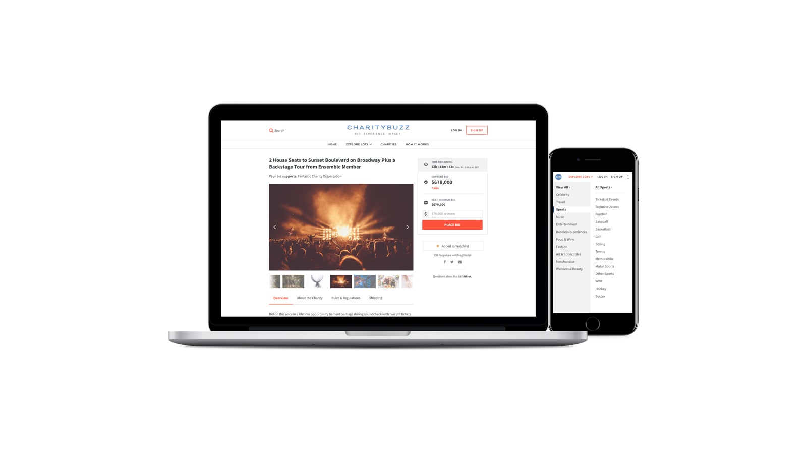 Charitybuzz website screens