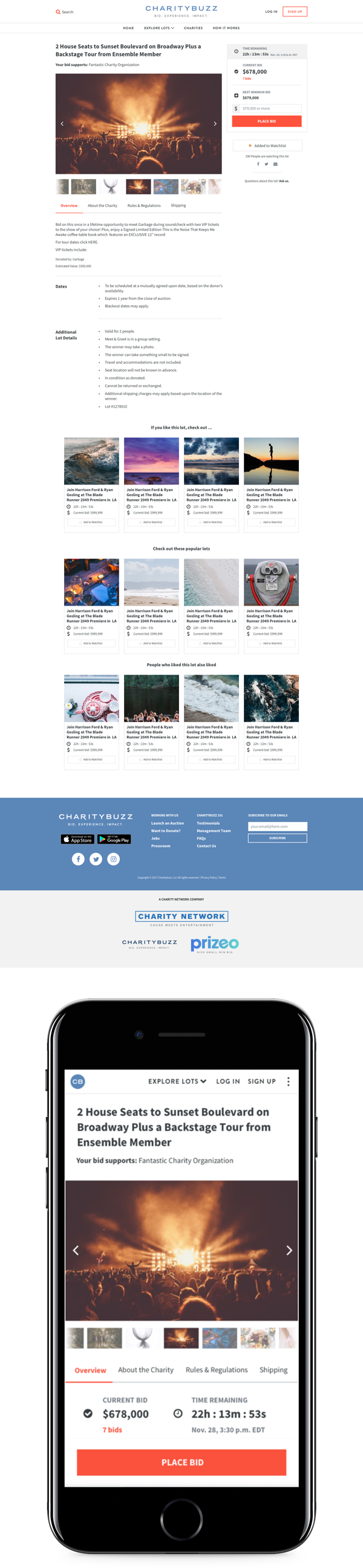 Prizeo home page redesign screens.